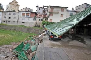 I danni causati dal nubifragio di Ferragosto a Lugo di Vicenza.