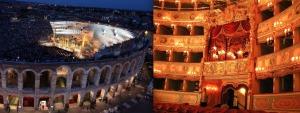A sinistra l'Arena di Verona e a destra la Fenice di Venezia, i due enti lirici del Veneto.