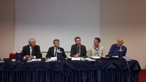 Il convegno del 12 ottobre 2015 al Viest: da sinistra, Renzo Marangon, Albertino Cappozzo, Riccardo Poletto, Martino Montagna e Giuseppe Danieli