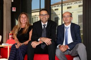 Gonzaga da sinistra: Barbara Beltrame vicepresidente Confindustria Vicenza; Roberto Milani, ad gruppo Fami Rosà; Claudio Terzi, sindaco Gonzaga.