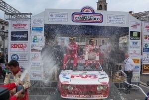 """Il bresciano """"Pedro"""" in coppia con lucchese Emanuele Baldaccini hanno portato la Lancia Rally 037 Gruppo B sul gradino più alto del podio all'undicesima edizione del Rally Campagnolo aggiudicandosi anche la classifica del 4° Raggruppamento"""