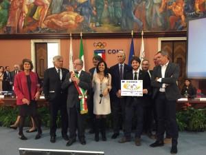 L'on Daniela Sbrollini al centro con tra gli altri l'Assessore Nicolai e il presidente del Coni Malagò
