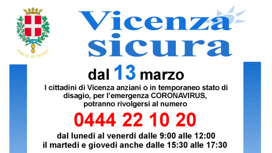 Emergenza Coronavirus a Vicenza, per anziani e persone in difficoltà attivo il numero 0444 22 10 20