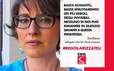 Lavoratrice vicentina nei manifesti nazionali per la regolarizzazione dei migranti in agricoltura