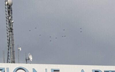 Oggi le Frecce Tricolori sopra Vicenza in volo di trasferimento verso casa